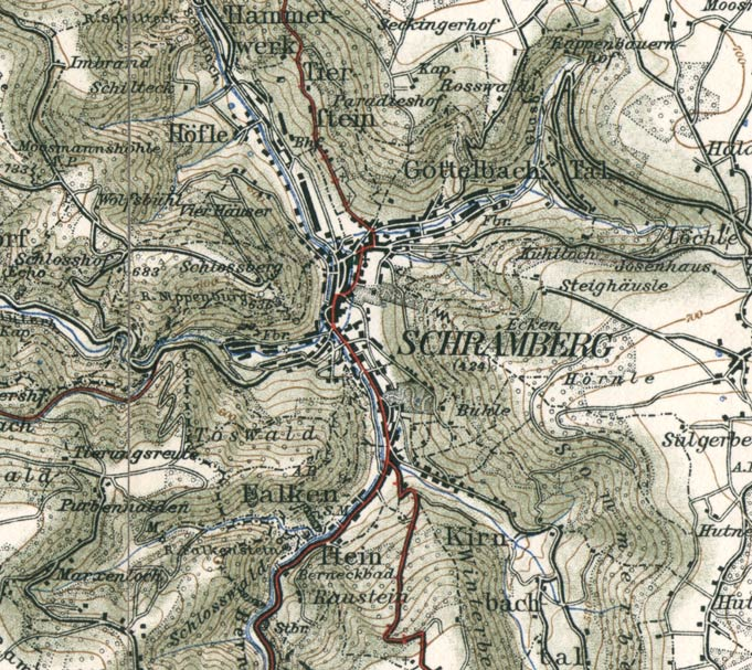 Die fünftälerstadt schramberg ausschnitt aus einer karte von 1908