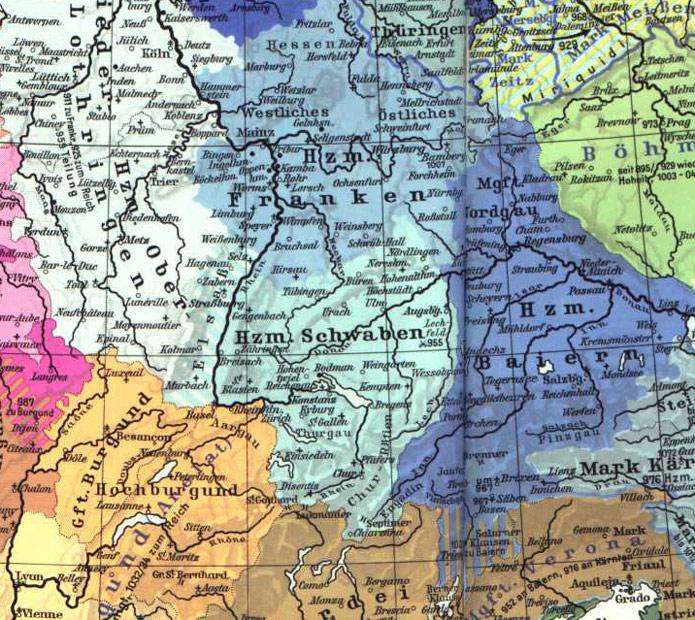 Schwaben Karte.Karte Des Herzogtums Schwaben Um Das Jahr 1000